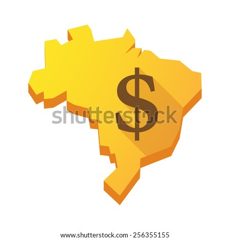 Illustration of a yellow Brazil map with a dollar sign - stock vector