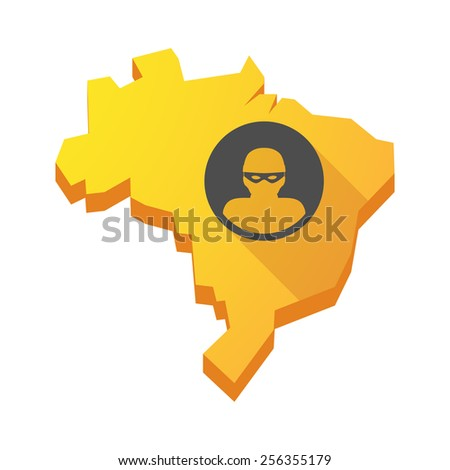 Illustration of a yellow Brazil map with a thief - stock vector