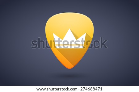 Illustration of a yellow guitar pick icon with a crown - stock vector