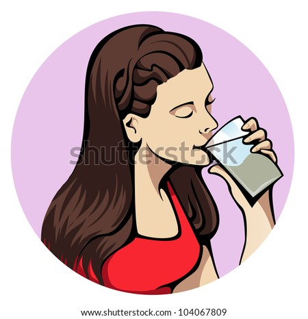 Illustration of a young attractive woman drinking a glass of water - stock vector