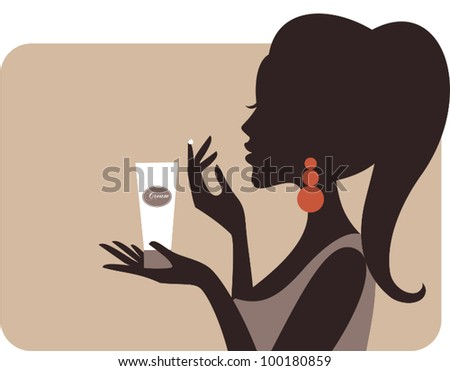 Illustration of a young beautiful woman applying cream on her face. - stock vector