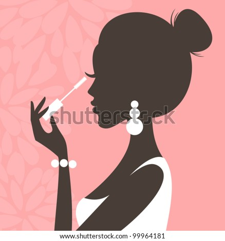 Illustration of a young beautiful woman applying mascara on her lashes. - stock vector