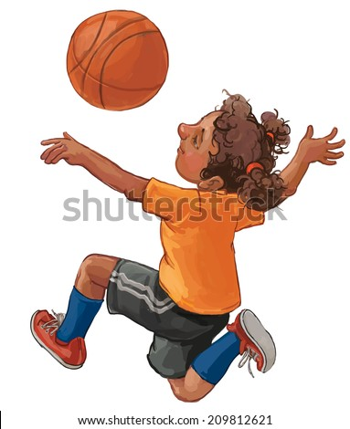 Illustration of a young black girl playing basketball on a white background. Children illustration for School books, magazines, advertising and more. Separate Objects. VECTOR