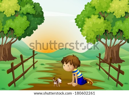 Illustration of a young boy and his pet in the middle of the street - stock vector