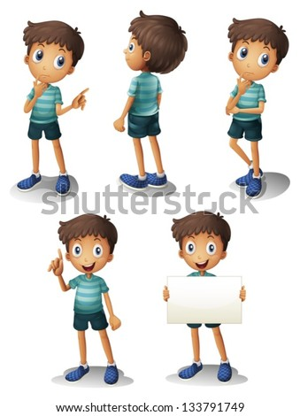 Illustration of a young boy in different positions on a white background - stock vector
