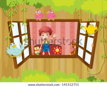 Illustration of a young boy inside the house waving near the window