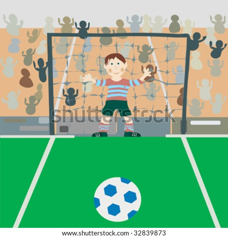 Illustration of a young boy on a soccer field.