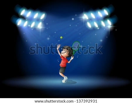 Illustration of a young boy playing tennis at the stage - stock vector