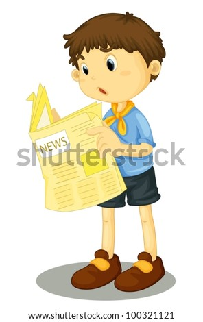 Illustration of a young boy reading the paper - stock vector