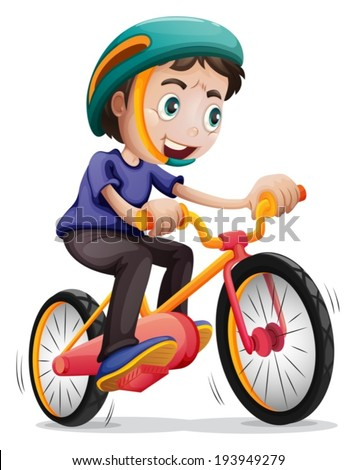 Illustration of a young boy riding a bicycle on a white background - stock vector