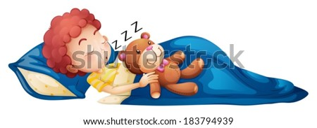 Illustration of a young boy sleeping on a white background - stock vector