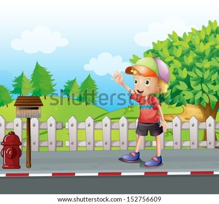 Illustration of a young boy waving near the mailbox at the road