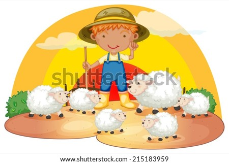 Illustration of a young boy with his sheeps on a white background - stock vector
