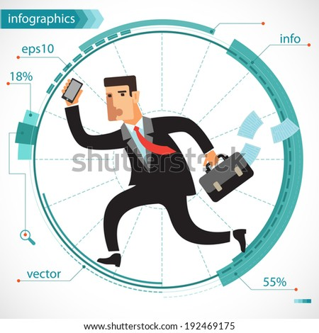 Illustration of a young businessman active as a squirrel running on an exercise wheel. Infographics for presentations and reports. Flat design. - stock vector