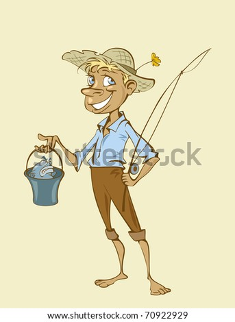 Illustration of a young cartoon fisherman - stock vector