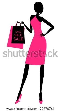 Illustration of a young elegant woman holding shopping bags. - stock vector