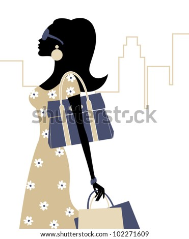 Illustration of a young fashionable woman with shopping bags. - stock vector