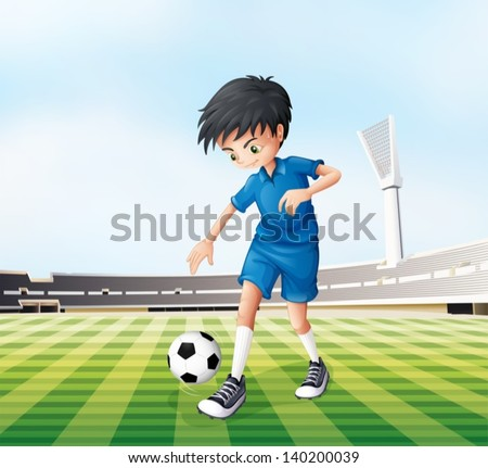 Illustration of a young gentleman playing soccer - stock vector