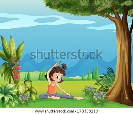 Illustration of a young girl doing yoga under the tree - stock vector