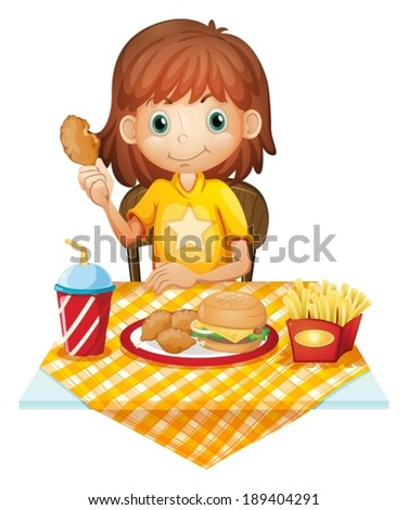 Illustration of a young girl eating at the fastfood restaurant on a white background - stock vector