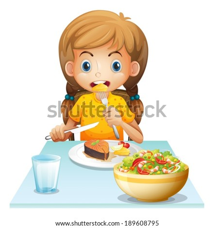 Illustration of a young girl eating on a white background - stock vector