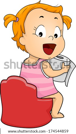 Illustration of a Young Girl sitting on potty holding a tissue - stock vector