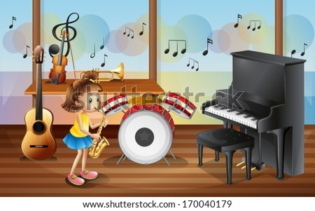 Illustration of a young girl surrounded with musical instruments - stock vector
