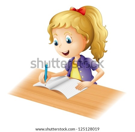 Illustration of a young girl writing on a white background - stock vector