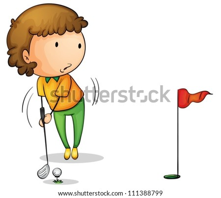 Illustration of a young golfer - stock vector