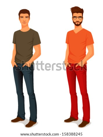 illustration of a young handsome man in casual clothes or more eccentric hipster fashion - stock vector