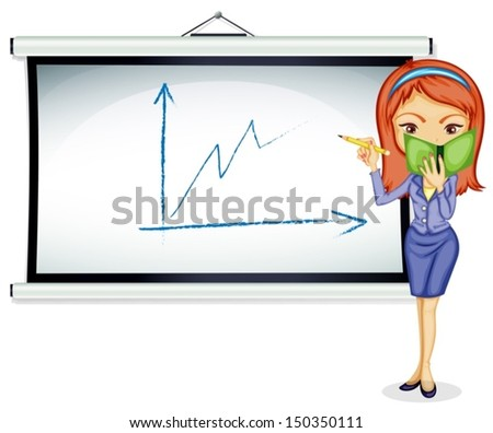 Illustration of a young lady explaining a chart on a white background - stock vector