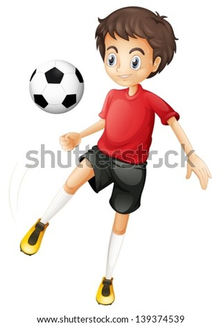 Illustration of a young man playing football on a white background - stock vector
