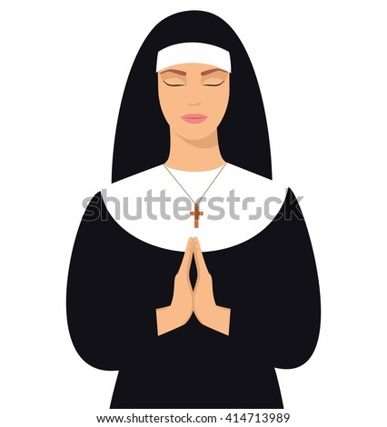 illustration of a young nun with eyes closed and hands folded in prayer. Vector illustration of woman praying - stock vector