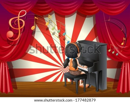 Illustration of a young pianist - stock vector