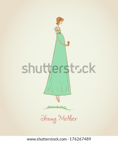Illustration of a young pregnant woman and place for your text. Template for design and decoration - stock vector