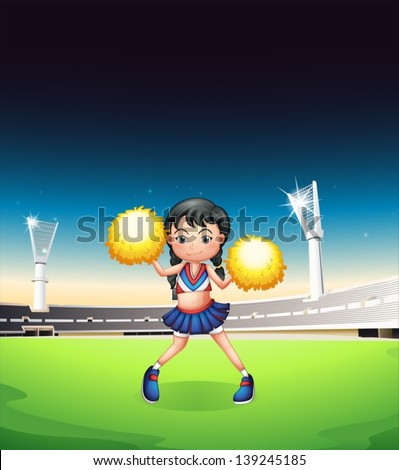 Illustration of a young woman dancing at the soccer field - stock vector