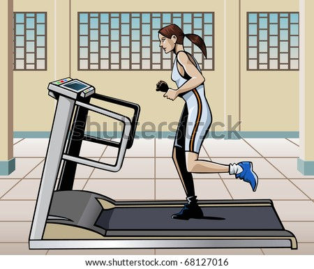 Illustration of a young woman running on a treadmill in a modern gym - stock vector