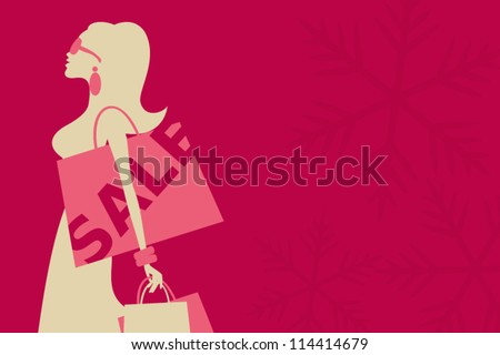 Illustration of a young woman shopping for Christmas. - stock vector