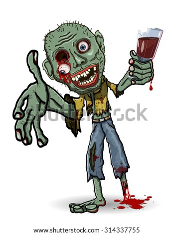 illustration of a zombie with a glass - stock vector
