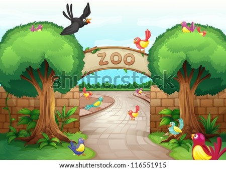 Illustration of a zoo scene - stock vector