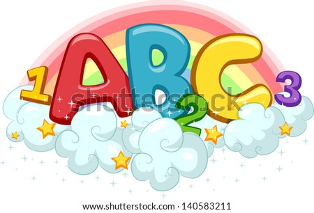 Illustration of ABC and 123 on Clouds with Stars and Rainbow