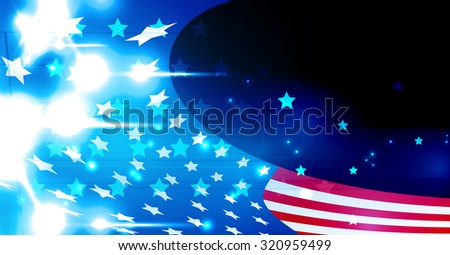 illustration of abstract American Flag for Independence Day. Shiny American national flag waving for Fourth of July - stock vector