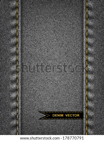 Illustration of abstract background from black denim texture with stitches and ribbon - stock vector