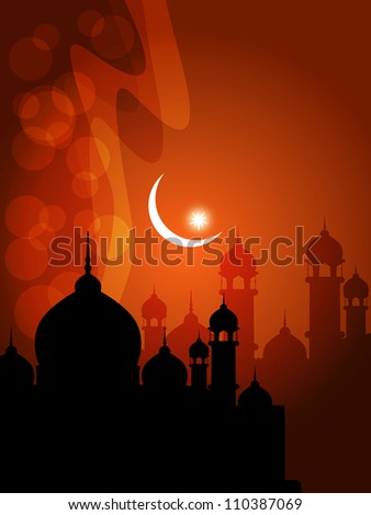 illustration of abstract beautiful religious eid background with mosque. - stock vector