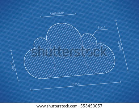 Illustration abstract blueprint cloud computing technology stock illustration of abstract blueprint with cloud computing technology symbol with cloud service qualities speed malvernweather Image collections