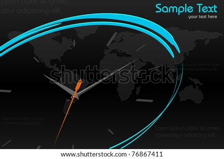 illustration of abstract clock on world map background - stock vector
