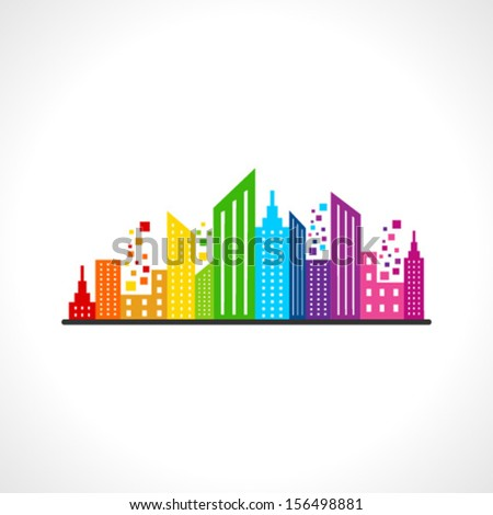 Illustration of abstract colorful building design - stock vector