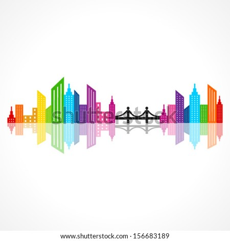 Illustration of abstract colorful building design with bridge - stock vector