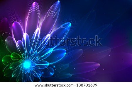 illustration of abstract fractal floral background - stock vector