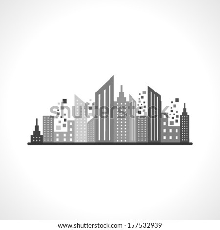Illustration of abstract grey building design